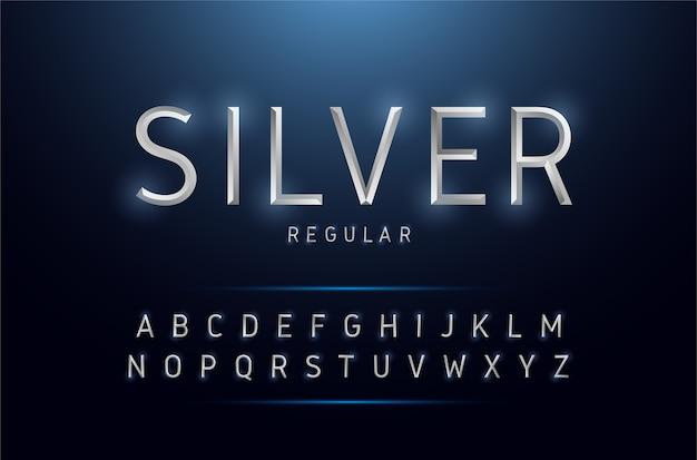 Alphabet argent métallique et effets