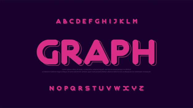 Alphabet arrondi créatif de police moderne couleur fontsn
