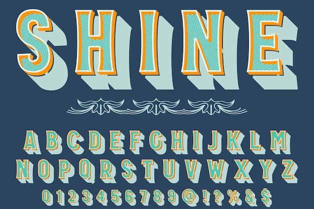 Alphabet, artisanat, étiquette, conception, briller
