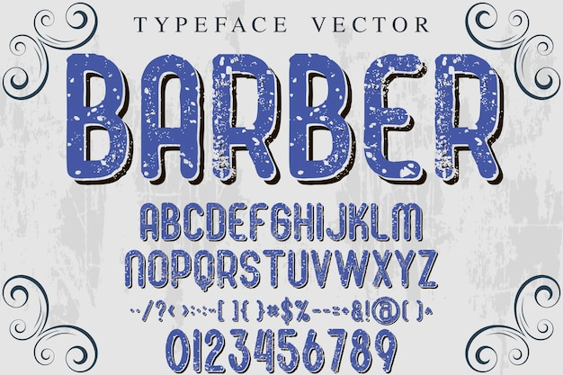 Alphabet artisanat typographie fonte design barbier