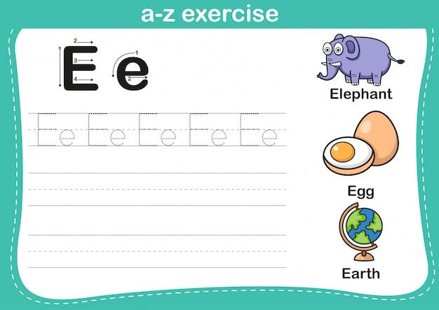 Alphabet az exercice avec illustration de vocabulaire de dessin animé