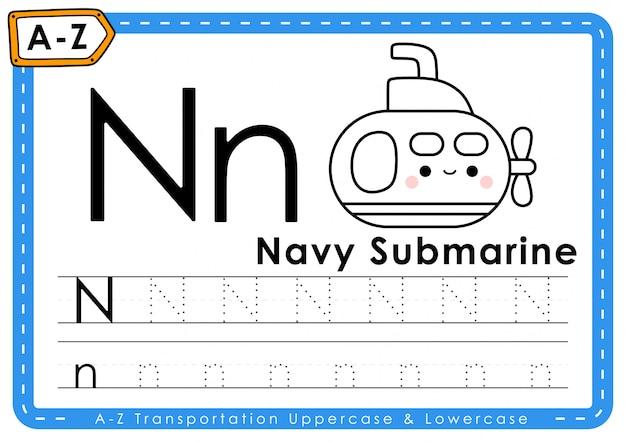 Alphabet az feuille de traçage des lettres de transport
