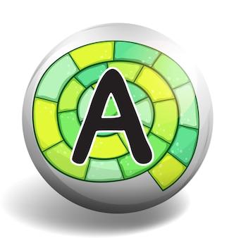 Alphabet a sur badge rond