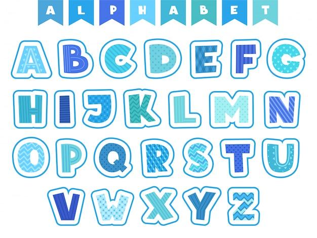 Alphabet de bande dessinée. lettres symboles et chiffres colorés personnages drôles isolés