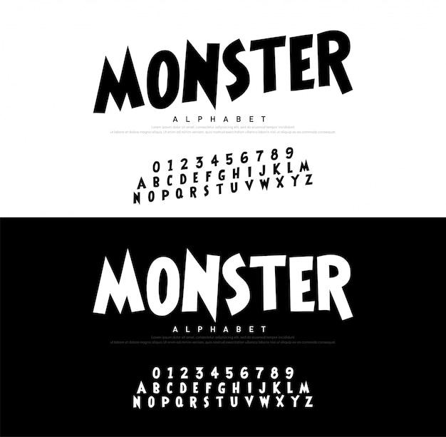 Alphabet de bande dessinée monstre effrayant typeace