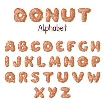 Alphabet beignet dessiné à la main.