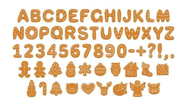 Alphabet de biscuits en pain d'épice avec glaçage pour noël ou nouvel an police de biscuits en pain d'épice