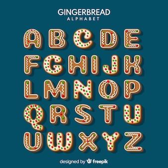 Alphabet de biscuits de pain d'épice de noël