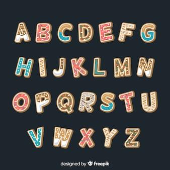 Alphabet de biscuits de pain d'épice