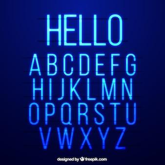 Alphabet bleu néon