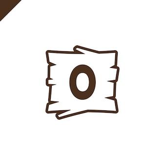 Alphabet en bois ou blocs de polices avec lettre o dans la zone de texture du bois avec contour.