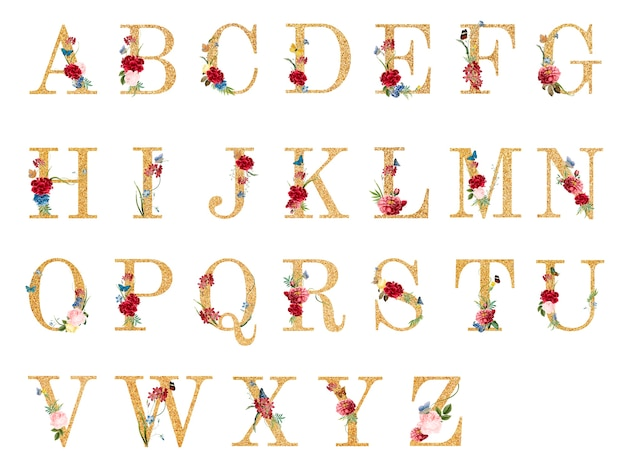 Alphabet botanique avec illustration de fleurs tropicales