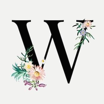 Alphabet botanique w lettrage