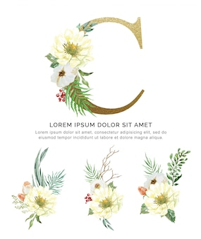 Alphabet c bouquet de fleurs et feuilles collection aquarelle.