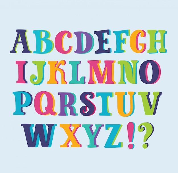 Alphabet brillant multicolore avec fond d'espace