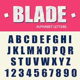 Alphabet brisé, glitch modern lettres et chiffres police stylisée.