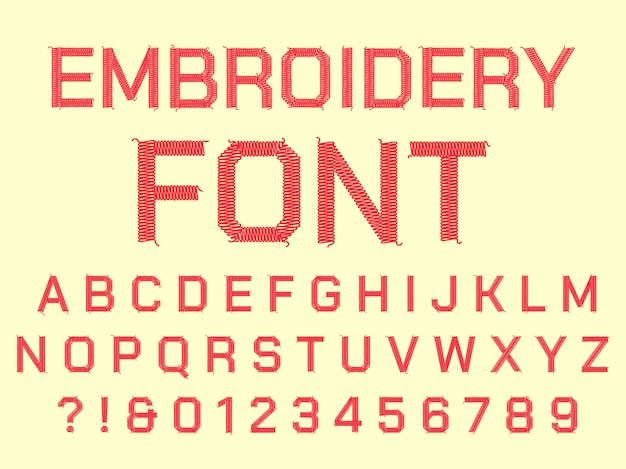 Alphabet de broderie à coudre. lettres brodées en tissu, police textile vintage et tissus cousus ensemble de symboles de lettre de fil