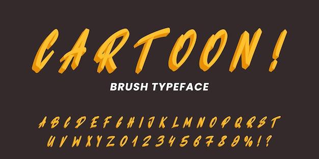 Alphabet de caractères de dessin animé. police de brosse de vecteur dessiné à la main.