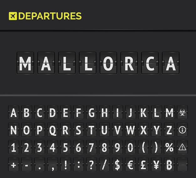 Alphabet de la carte de l'aéroport analogique