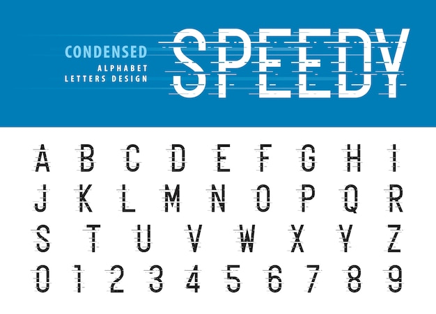 Alphabet et chiffres de style glitch
