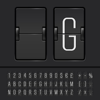 Alphabet, chiffres et symboles du tableau de bord blanc. vecteur eps10