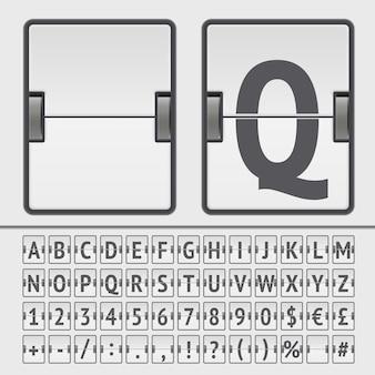 Alphabet, chiffres et symboles du tableau de bord flip blanc. vecteur eps10