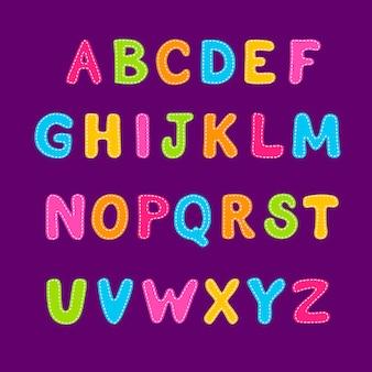 Alphabet coloré bulle de dessin animé