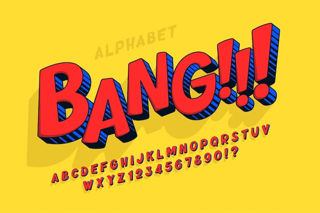 Alphabet coloré comique à la mode