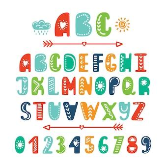 Alphabet coloré de dessin animé dessiné à la main