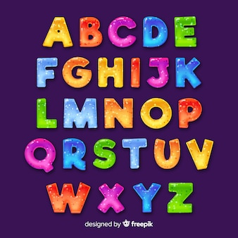 Alphabet coloré dessiné à la main