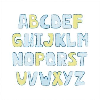 Alphabet coloré mignon avec le trait de texture.