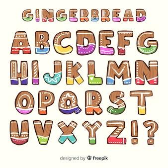 Alphabet coloré en pain d'épice