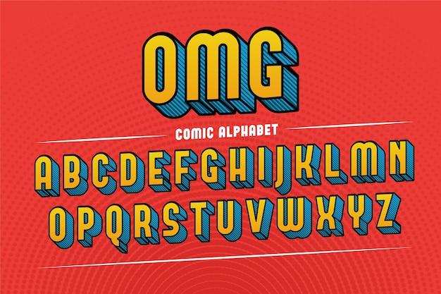 Alphabet comique 3d coloré