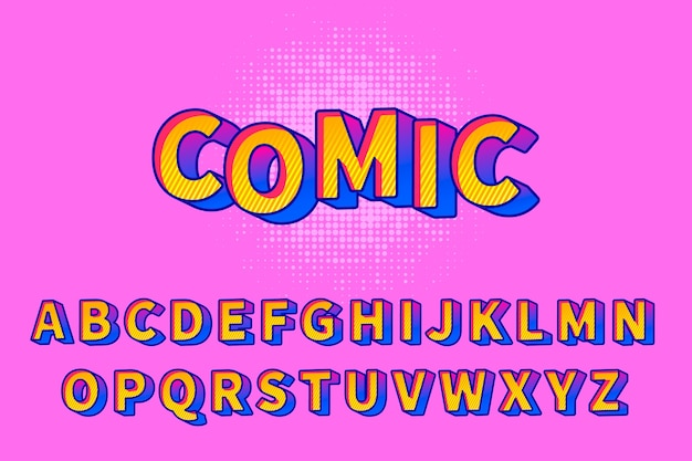 Alphabet comique 3d