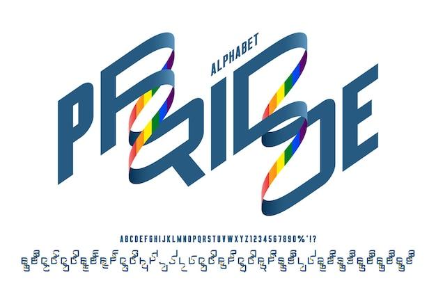 Alphabet condensé arrondi original futuriste, ensemble de caractères et de nombres.