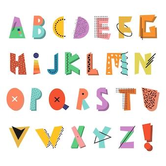 Alphabet créatif à la mode police drôle colorée mode des années 8090