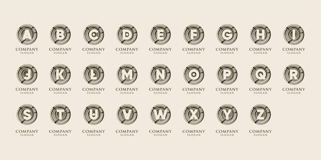 Alphabet créatif avec modèle de logo concept cercle en bois