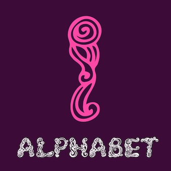 Alphabet de croquis dessinés à la main de doodle. lettre i
