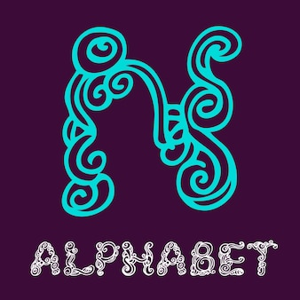 Alphabet de croquis dessinés à la main de doodle. lettre n