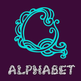 Alphabet de croquis dessinés à la main de doodle. lettre q