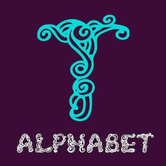 Alphabet de croquis dessinés à la main de doodle. lettre t