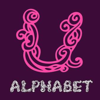 Alphabet de croquis dessinés à la main de doodle. lettre u