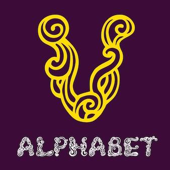 Alphabet de croquis dessinés à la main de doodle. lettre v