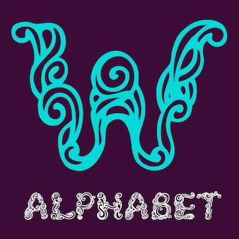 Alphabet de croquis dessinés à la main de doodle. lettre w