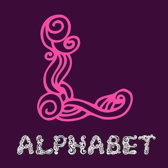 Alphabet de croquis dessinés à la main de doodle. lettre l