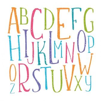 Alphabet de couleur manuscrite