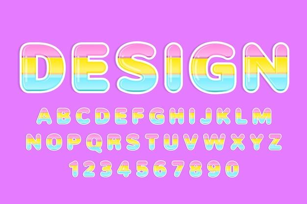 Alphabet décoratif mignon arc-en-ciel coloré