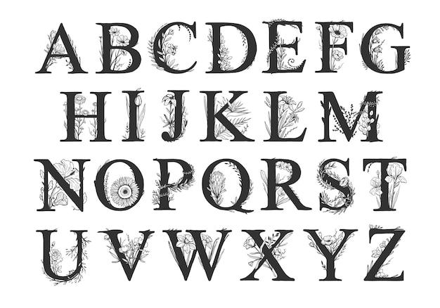 Alphabet décoratif de vecteur avec des éléments floraux lettres majuscules décorées de fleurs