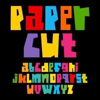 Alphabet découpé en papier coloré
