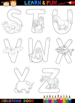 Alphabet de dessin animé avec des animaux à colorier